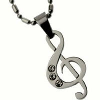 R.H. Jewelry Stainless Steel Pendant Musical Note Necklace