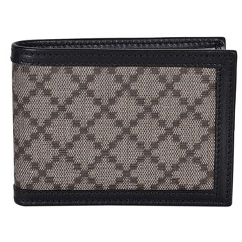 Gucci Men's Mini Diamante Bi Fold billfold Wallet Beige Black Canvas Leather Trim 233157