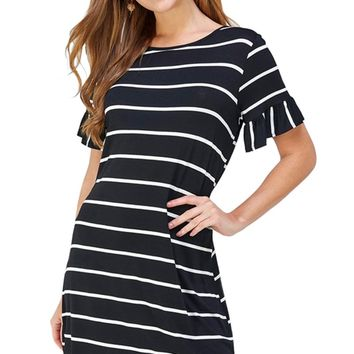 Stripe Knit Dress with Ruffled Sleeve