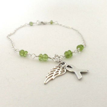 Lymphoma awareness bracelet, angel bracelet,  lime green ribbon, non-Hodgkins lymphoma, awareness ribbon,  sterling silver, peridot gemstone