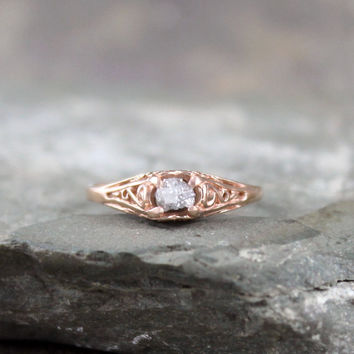 Raw Diamond 14K Rose Pink Gold Engagement Ring - Antique Filigree Design - Conflict Free Diamond Engagement Rings - April Birthstone Ring