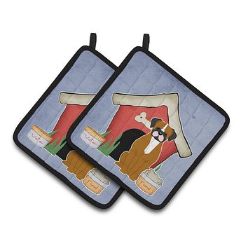 Dog House Collection Flashy Fawn Boxer Pair of Pot Holders