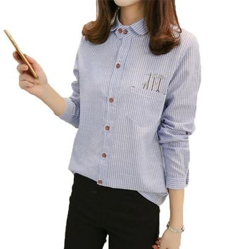 Striped Blouse Shirt Women Long Sleeve Tops 2017 Casual Pocket Button Down Blouses Cartoon Embroidered Plus Size Blusas Mujer