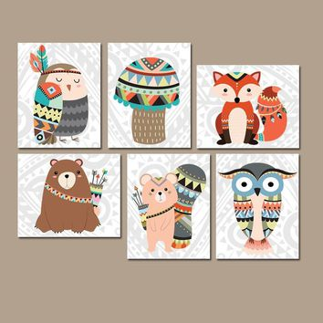 TRIBAL Nursery Wall Art, TRIBAL Animals Decor, Canvas or Prints, Woodland Decor, Wood Forest Animals, Gender Neutral, Set of 6 Wall Decor