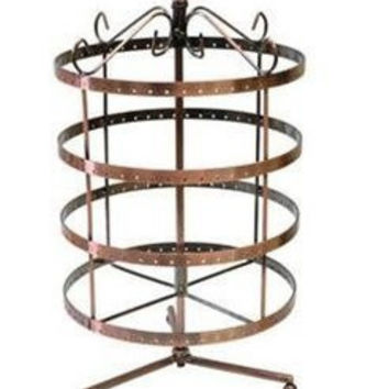 4 Tiers Black Rotating Spin Table Top 92 pairs Earring Holder Organizer Stand / Jewelry Stand Display Rack Towers by LilGift (BRONZE)