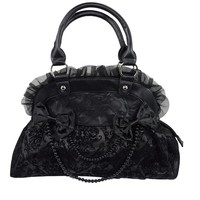 Victorian Gothic Emo Princess Velvet Skull Flocked with Bows Handbag