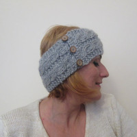 Knitted Headband, Collar,Ear Warmer,Head Warmer,Neck Warmer,100% Wool, Grey, Silver Grey, Adorned With Coconut Shell Buttons, With Free Gift