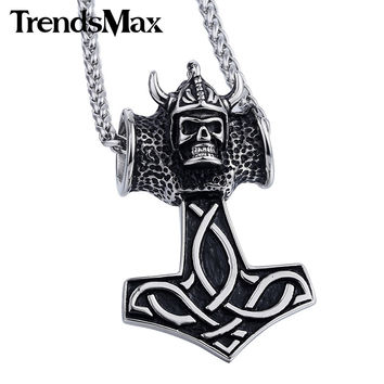 Norse Knot Viking Goat Horn Thor's Hammer Black Silver Tone 316L Stainless Steel Pendant necklace