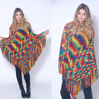 Vintage 70s Knit Poncho RAINBOW Fringe Poncho Hippie Sweater BLANKET Poncho & Matching Hat