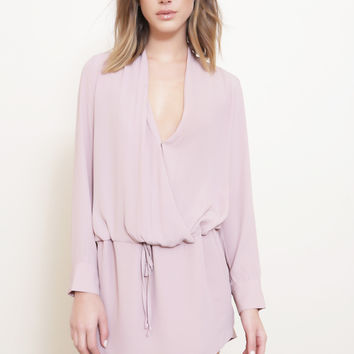 Blush Chiffon Drape Front Dress
