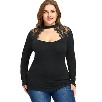 Gamiss Women Plus Size Lace T-Shirts Insert Keyhole Tops Spring Autumn Long Sleeves Black Tees Shirts Cut Out Slim Top 5XL