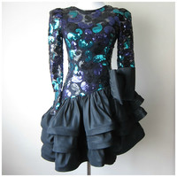 80s Jewel Tone Sequin Purple/Turquoise & Black Lace Asymmetrical Drop Waist Ruffle Skirt Cocktail Prom Dress by Julie Duroche for After Five