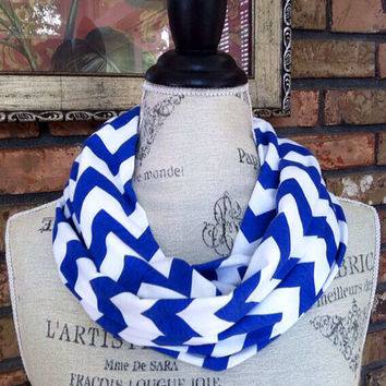 SALE Royal Blue Chevron Scarf, Blue Chevron Infinity Scarf, University of Kentucky, Duke University