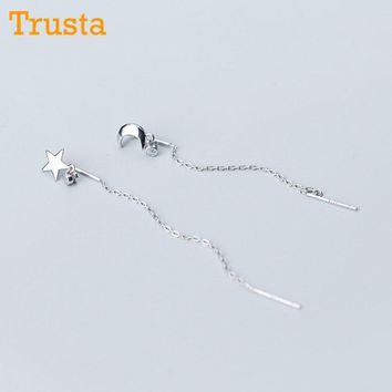 Trusta 100% 925 Solid Real Sterling Silver Asymmetric Star Moon Linked 6.5cm Drop Stick Stud Earring For Girl Friend Gift DS1094