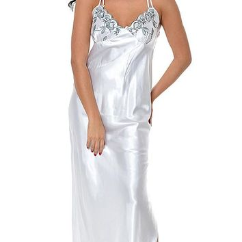 Nightgown - Bridal White Charmeuse w/Embroidered Cups (Robe available) (Small-3X)