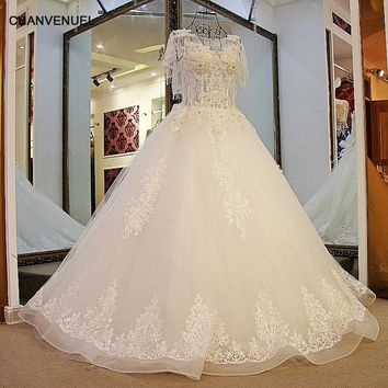 LS54547 Rhinestone Wedding Dress Luxury Ball Gown Lace up Back Short Sleeves Floor Length Tulle Wedding Gown for the Bride
