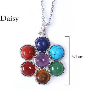 """Daisy"" Natural Stone Reiki 7 Chakras Pendant Necklace"