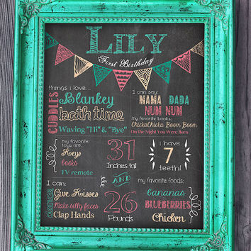 Birthday Chalkboard Sign / Printable / Girl First Birthday Chalkboard Poster **Includes Free smaller file for Facebook sharing**