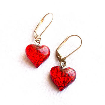Red Glitter Heart Earrings Dangle Drop Pierced Resin Acrylic Sparkle Valentines Day Pin Up Cute Love