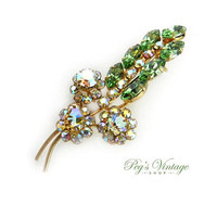 Vintage Sparkling Emerald Green & AB Rhinestone Brooch, Rhinestone Crystal Spray Flower/Leaf Brooch/Pin