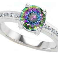 Star K Round 7mm Rainbow Mystic Topaz Ring Size 6