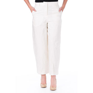 Elizabeth and James Womens Rumpled Ron Sateen Cropped Dress Pants