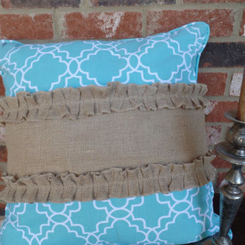 "Burlap Pillow Wrap  with burlap ruffles  for a 16"" or 18"" pillow"