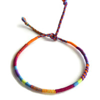 Purple Tie Dye Friendship Bracelet and Anklet, Orange and Purple Wanderlust Friendship Anklets