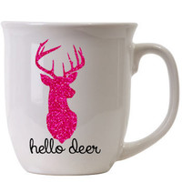 Hello Deer Pink Glitter Coffee Mug // Whitetail Deer // Girls that hunt