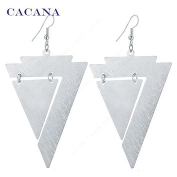 Triangle Within Triangle Dangle Long Earrings For Women