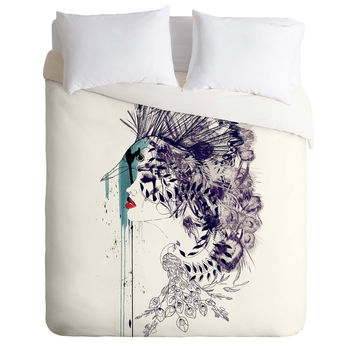 Holly Sharpe Peacock Girl II Duvet Cover