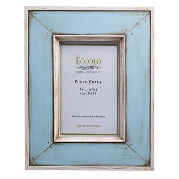 Antiqued Wood Picture Frame, Positano Collection, Solid Blue, Holds 4x6 Photo