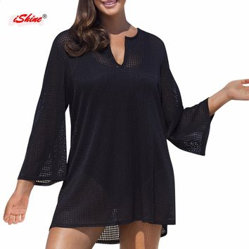 Hollow cover up V neck long sleeve beach tunics for bikini bathing suit saide de paraia beach wear cover-ups robe de plage Pareo