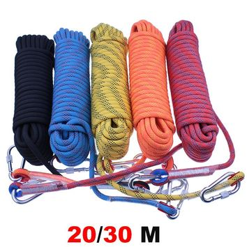 Outdoor Rock Climbing Rope 20M 30M High Strength Cord Safety Ropes Hiking Accessory 10mm Diameter Striped buckle customized