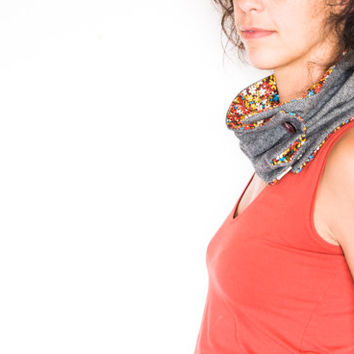 Women scarf | neckwarmer | cowl in grey wool flannel and cotton linning