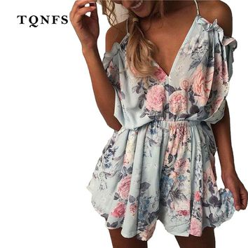 TQNFS Off Shoulder Floral Print Jumpsuit Romper Women Backless Summer Beach Overalls V Neck Elegant Short Playsuit Women