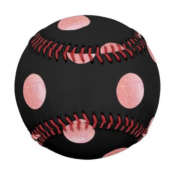 Pink Polk Dots Baseball