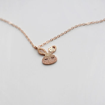 925 sterling silver rose gold tiny rabbit necklace,Personalized rose gold fashion necklace,simple silver rose gold necklace,a dainty gift