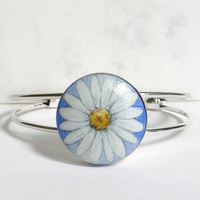 Daisy Bracelet Cuff Bracelet, Hand Painted, Hand Jewelry, Handmade Bracelet, White Aster, Flower,  Bracelet Setting Daisy Painting on Wood