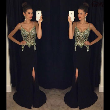 Modern Prom Dresses Mermaid Sleeveless V-Neck Spaghetti Strap Side Slit Crystal Beaded Black Prom Dress Satin Prom Gown PD230