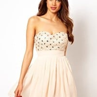 Elise Ryan Bandeau Skater Dress in Sequin Cornelli