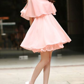 Casual Open Shoulder Flounce Plain Chiffon Skater Dress