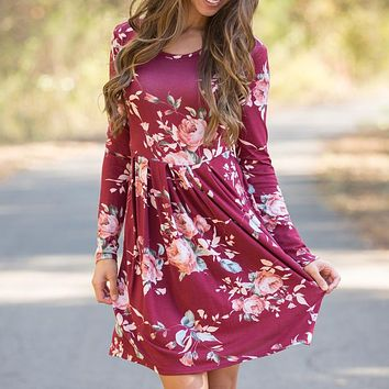 Women Dress Autumn Long Sleeve Flower Printed Boho Dresses Round Neck Cute Shift Dress