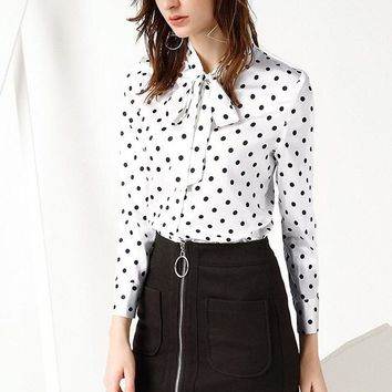 Polka Dot Silk Blouse W/ Tie