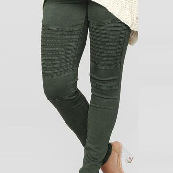 New Army Green Pleated Pockets High Waisted Casual Long Pants