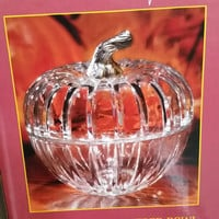 Lead Crystal pumpkin Glass bowl with lid