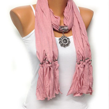 pink jewelry scarf with very pretty big pendant, Christmas, birthday gift or for you NEW SEASON