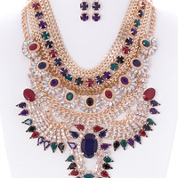 Eva Metal and Stone Statement Necklace and Earrings Set