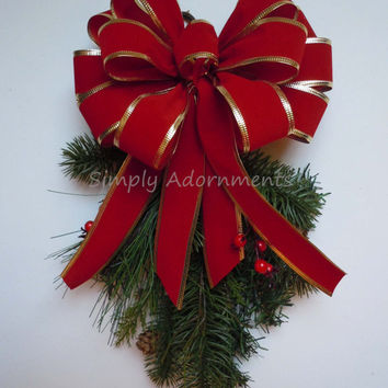 Red Gold Christmas Wreath Bow In / Outdoor Garland Bow Mailbox Bow, Lamp Post Bow, Christmas Decoration Bow Decoration Gift Bow