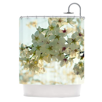 "Robin Dickinson ""Cherry Blossoms"" White Flower Shower Curtain"